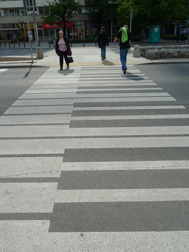 White Rectangles Painted Road