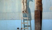 Street Art 3D paint on the ladder