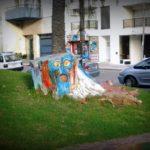Street Art in wood in Montevideo, Uruguay