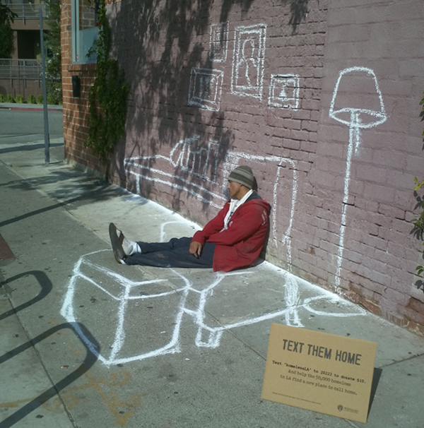 Text Them Home. Street Art Project for the homeless