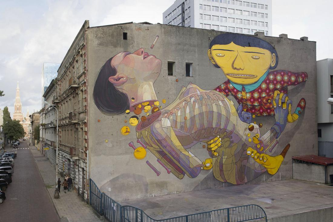 14 Galeria Urban Art Forms in Lodz, Poland. By Os Gemeos and Aryz