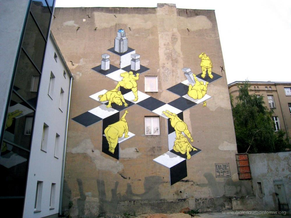 19 Galeria Urban Art Forms in Lodz, Poland. By Sepe Chazme