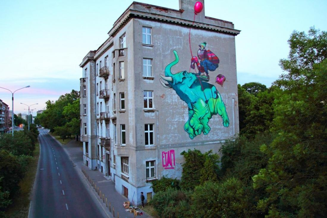 4 Galeria Urban Art Forms in Lodz, Poland. By Etam Crew