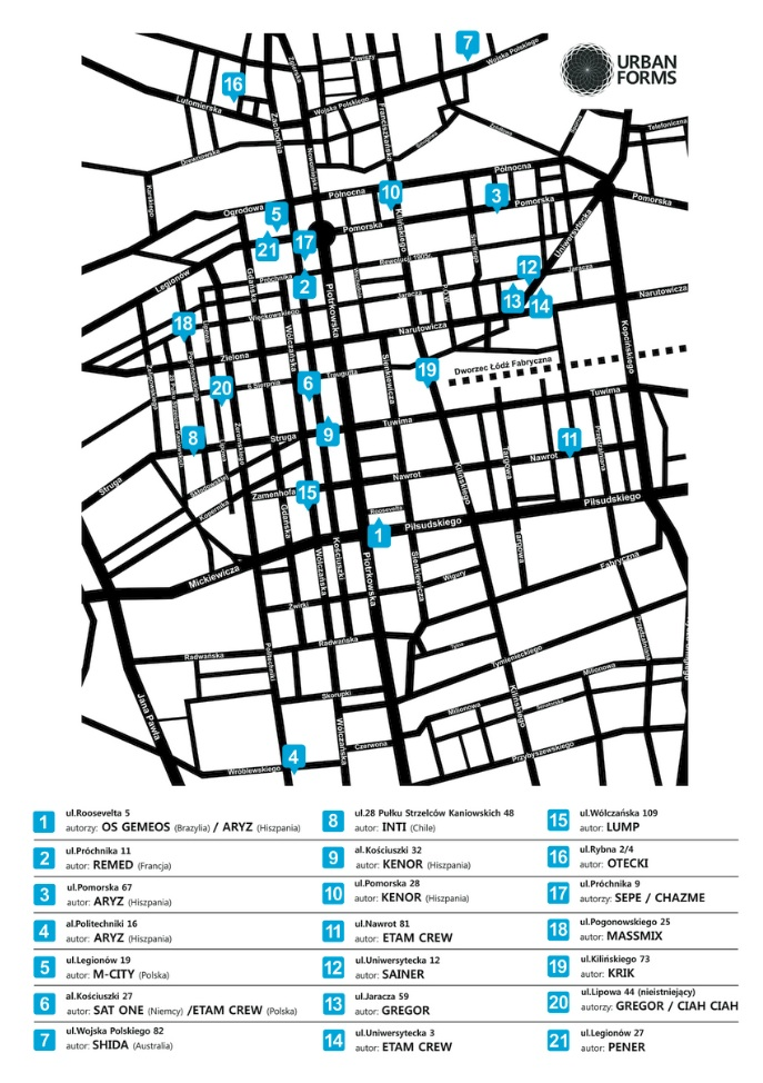 map of urban art forms in Lodz, Poland