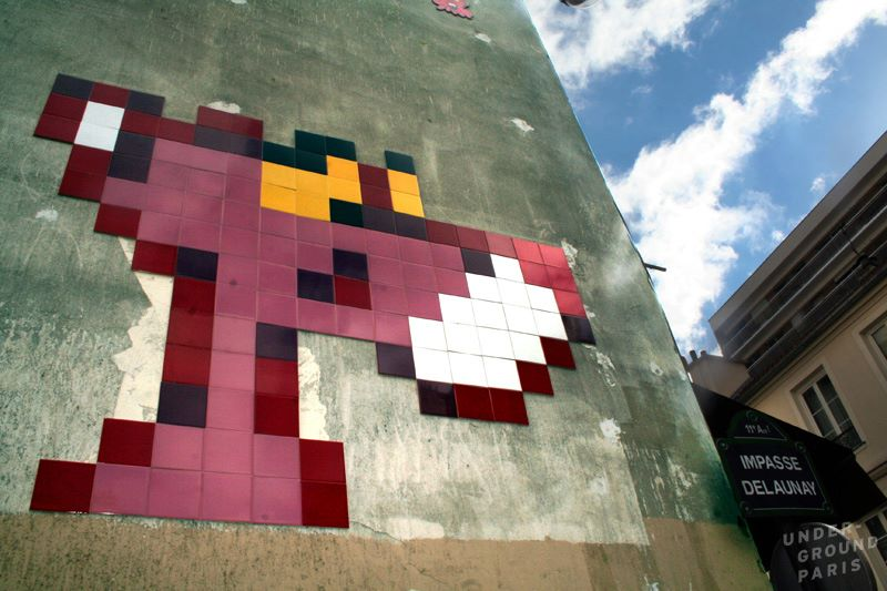 Pink Panther mosaic by Space Invader in Paris, France
