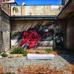 Street Art Rose in Culver City, Los Angeles, California, USA