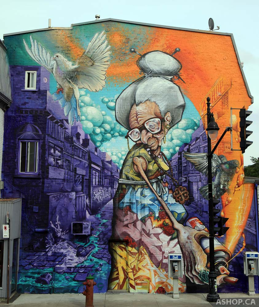 Street Art by A'SHOP at Mural Festival in Montreal, Canada