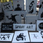 Banksy selling Banksy canvases in Central Park