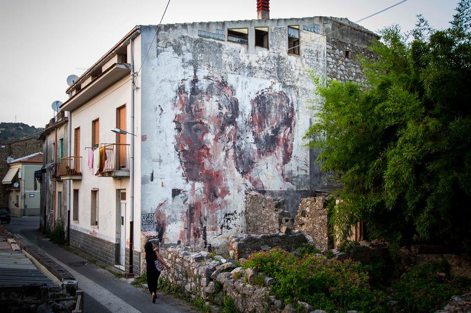Street Art by Borondo in Sapri SA, Italy at Oltre il Muro Festival 2