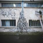Street artist Iemza painting at La Fileuse, Reims, France 1