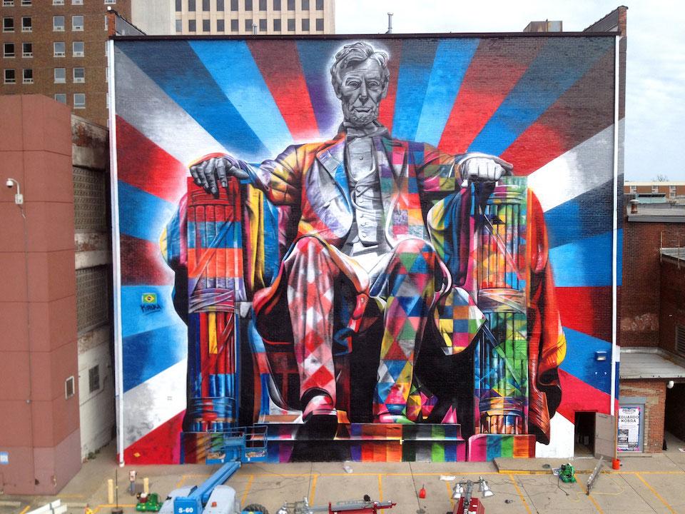 Street Art by Eduardo Kobra of Abraham Lincoln in Kentucky, USA 56456