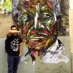 Street Art by Hopare of Nelson Mandela in Paris, France