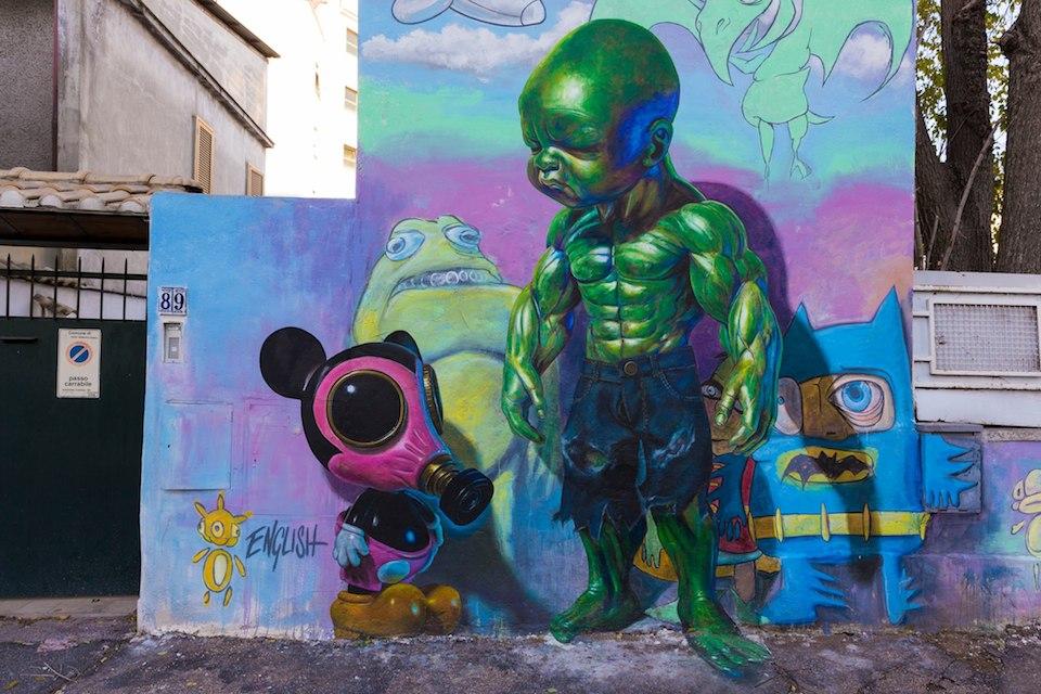 Street Art by Ron English at Quadraro in Rome, Italy