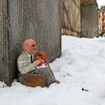 Homeless. Anderletch, Belgium. Cement Eclipses -By Isaac Cordal 2013 in 13