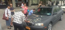 Chalkboard coated car as canvas in New York, USA 1