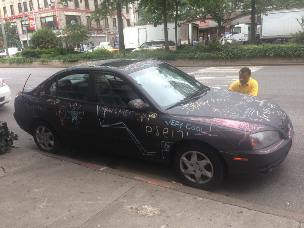 Chalkboard coated car as canvas in New York, USA 2