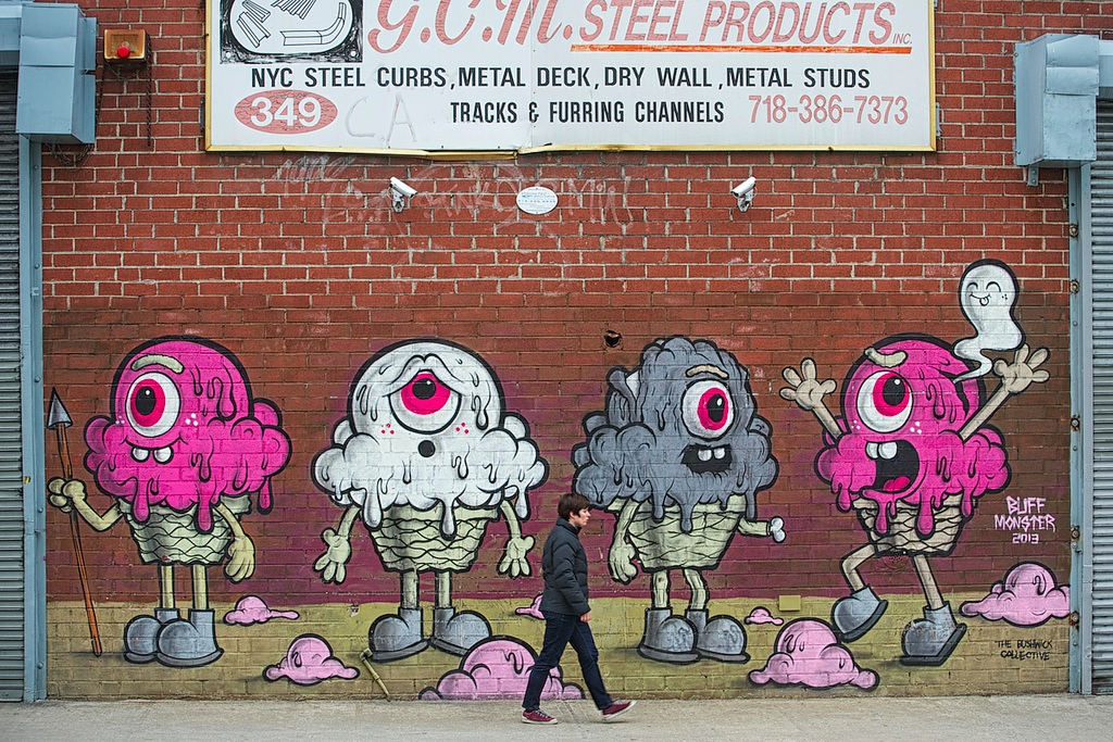 Street Art by Buff Monster in Brooklyn, New York, USA
