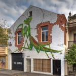 Street Art by Buzzard in Fitzroy, Melbourne, Victoria Australia - Parying Mantis