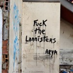 Fuck the Lannisters - Arya. Street Art by Oakoak in France