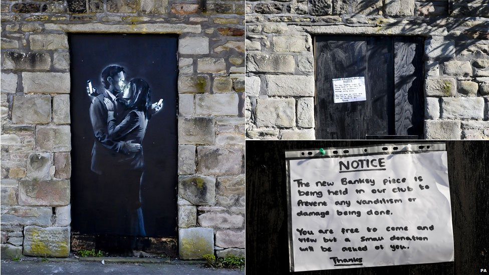 Phone Lovers - Street Art by Banksy in Bristol, England 3