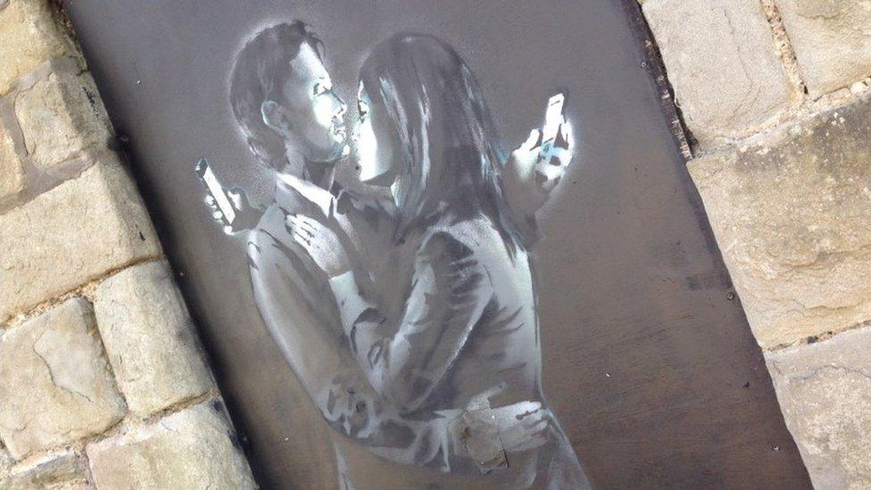Phone Lovers - Street Art by Banksy in Bristol, England 5