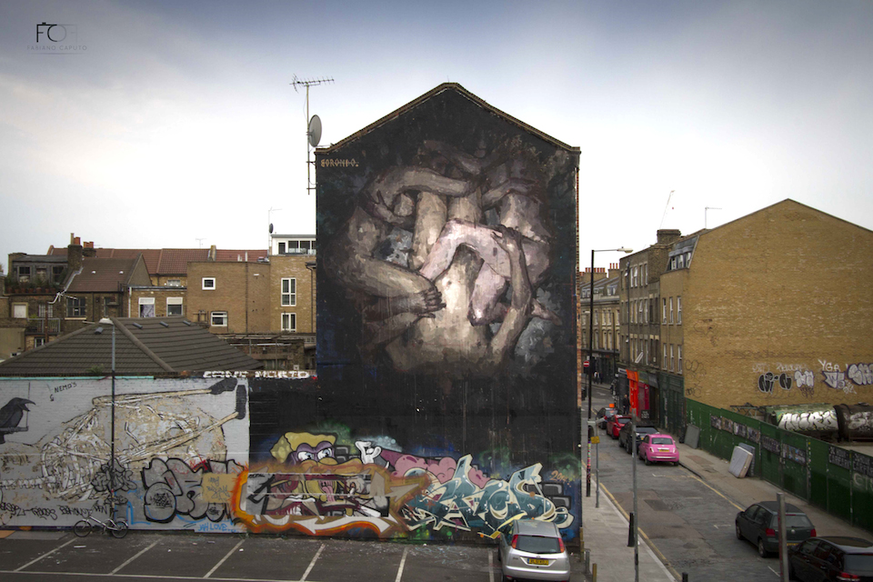 Street Art by Borondo in Shoreditch, East London 1