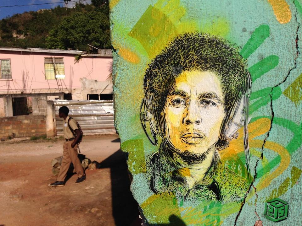 Street Art by C215 in Nine Mile, Jamaica 1. Portrait of Bob Marley