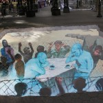 Street Art in 3D - Putin vs Obama. By Eduardo Relero
