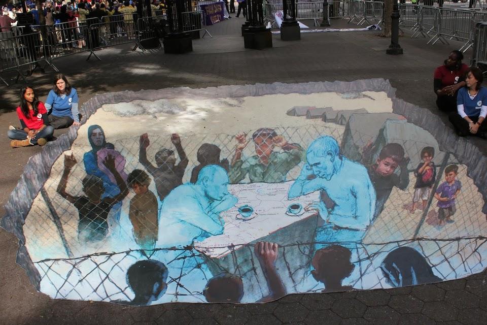 Street Art in 3D - Putin vs Obama. By Eduardo Relero