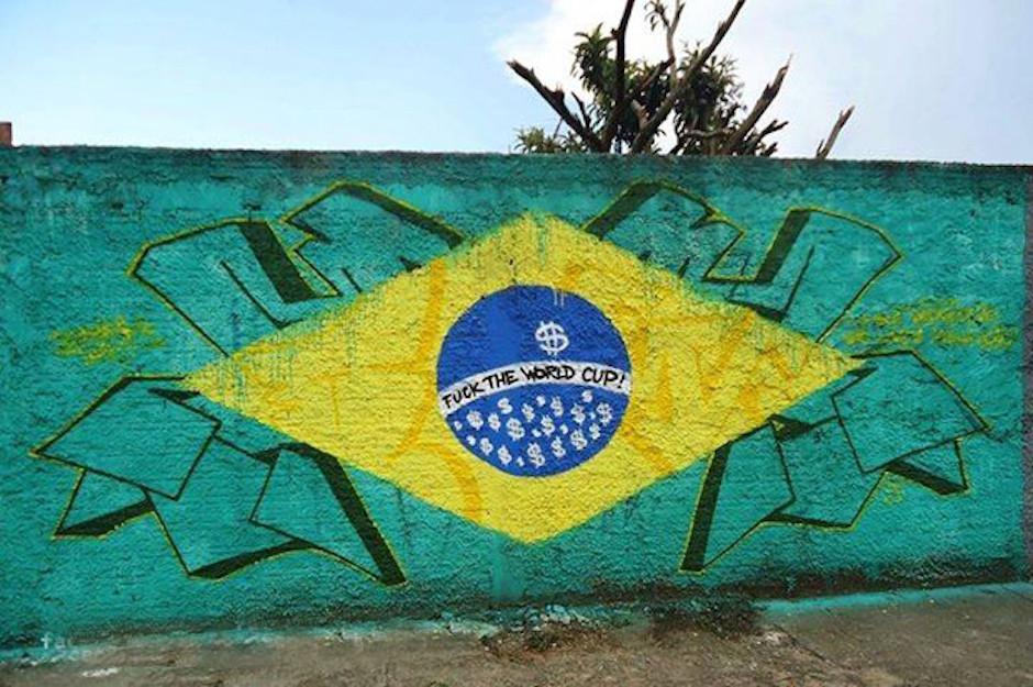 Street Art FIFA World Cup in Rio de Janeiro, Brazil, - Fuck the World Cup
