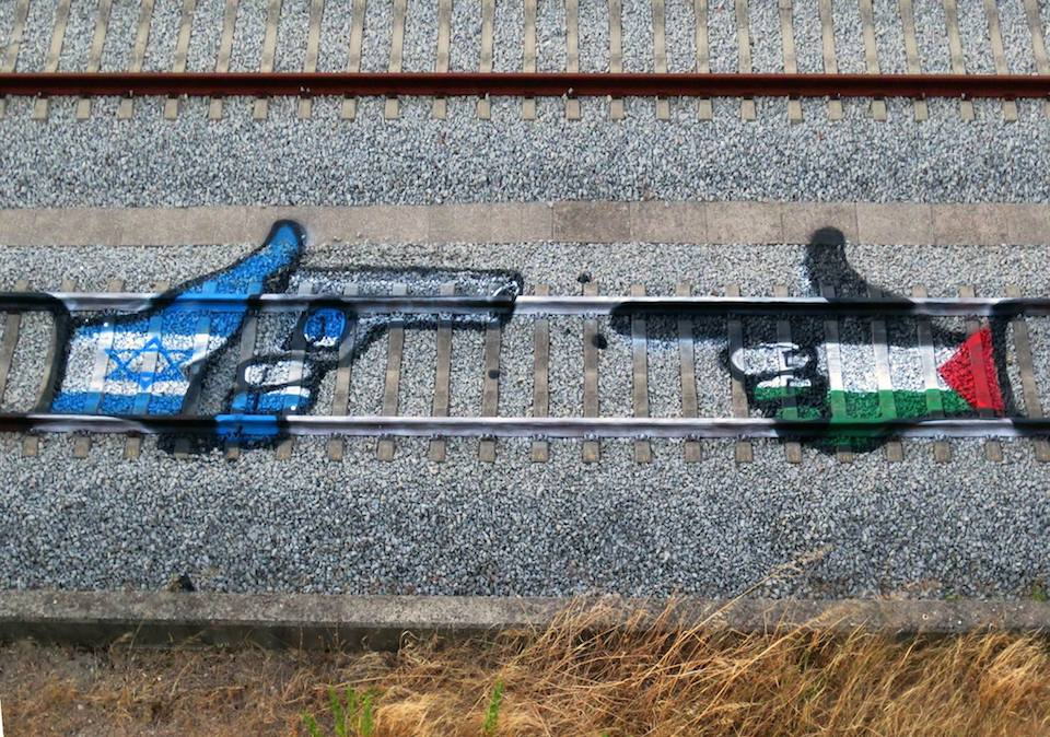 Street Art by Bordalo II - Israel vs Palestina 2014