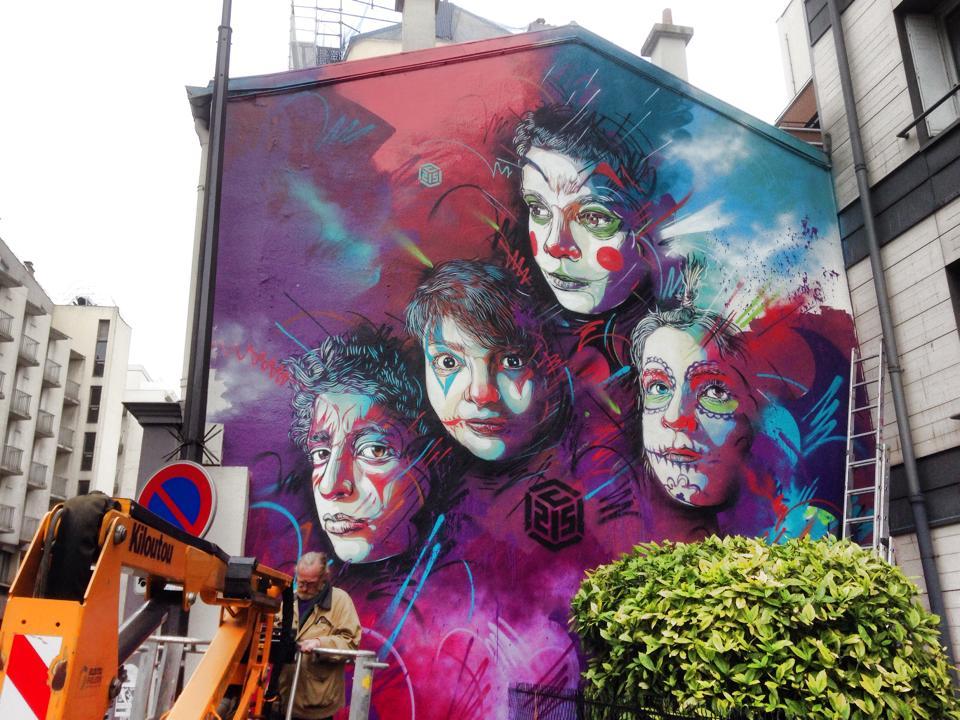 Street Art by C215 at Rue Pelleport- Paris 20ème, France 3