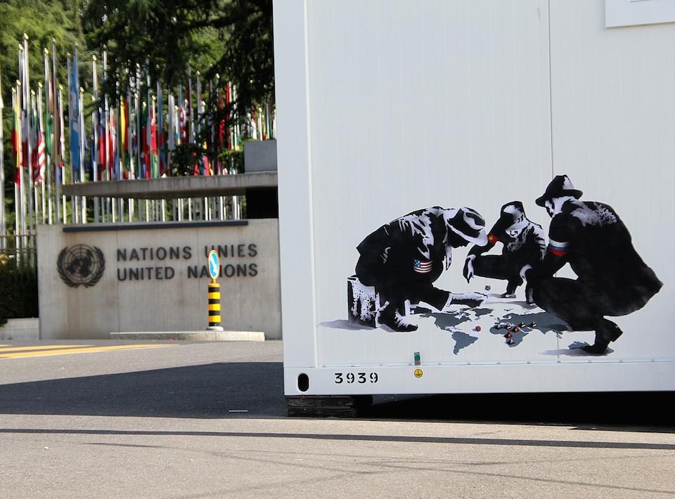 Street Art by Goin - United Nations Headquarters in Geneva, Switzerland - Blood dice