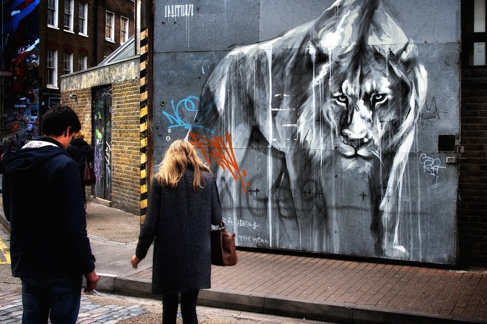 Stare down - Street Art by Faith47 in Brick Lane, London, England