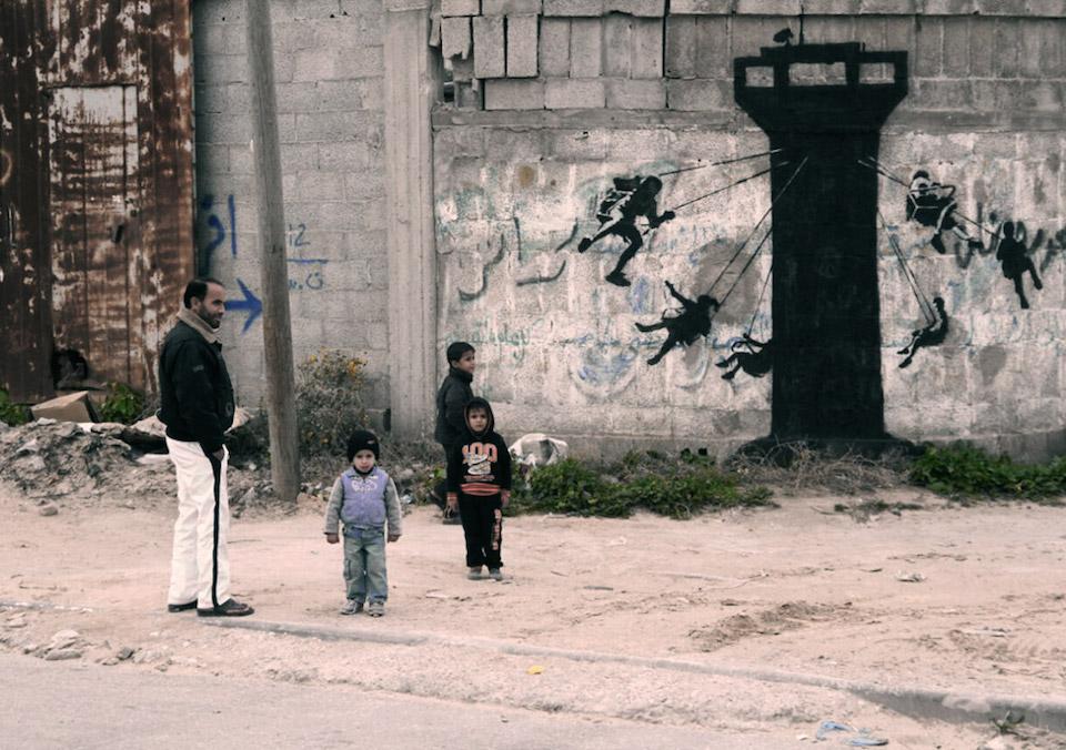 Street Art by Banksy in Gaza, Palestine 4