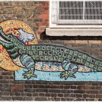 Mosaic by Artyface on the walls of a Tower Hamlets school. In East End of London, England
