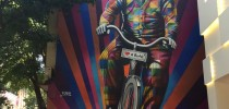 Genial is riding a bike. Street Art by Kobra in São Paulo, Brazil 1
