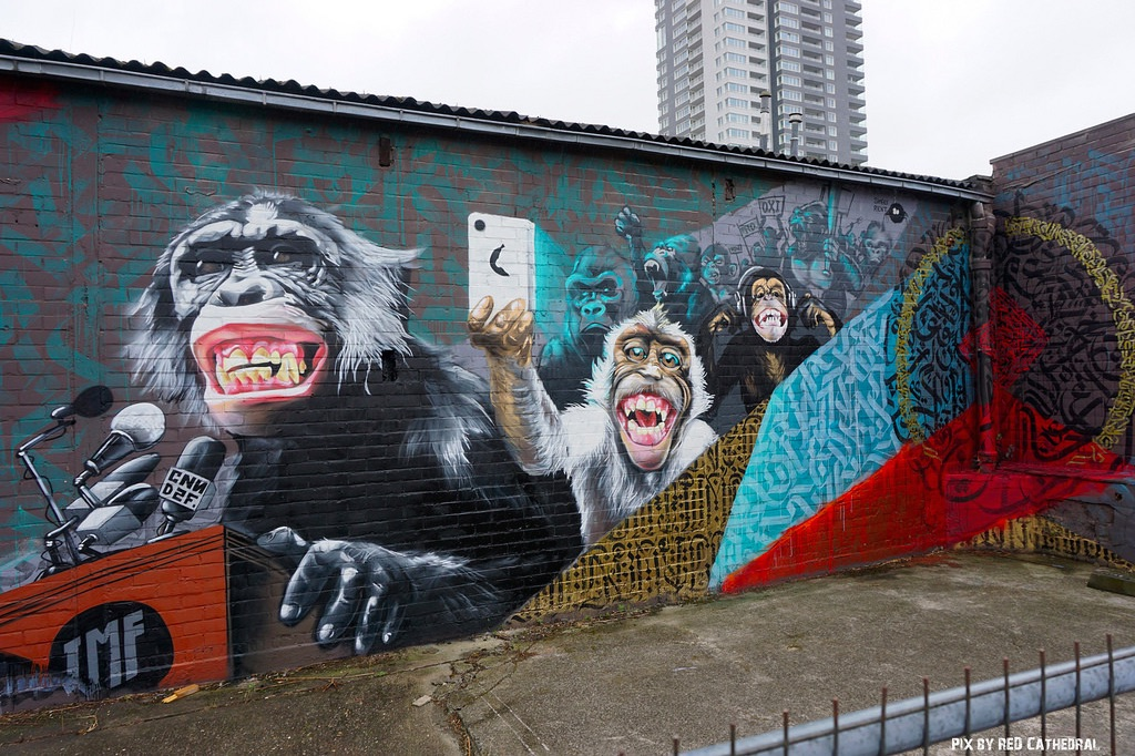 IMF Monkeys - Street Art at L'allée du kaai in Brussels, Belgium 1
