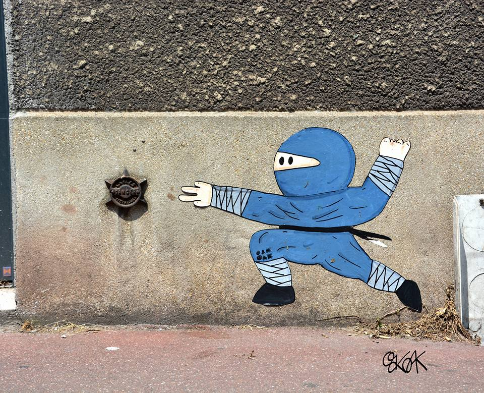 Street Art by Oakoak - Ninja Warrior