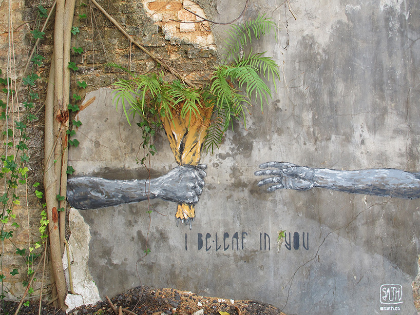 Street Art by Sath in Penang, Malaysia - I be-leaf in you