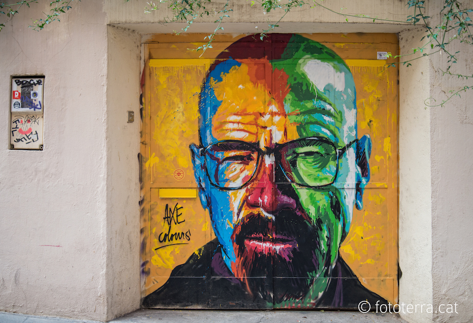 Walter White from Breaking Bad - Street Art Mural by Axe Colours in Barcelona, Spain
