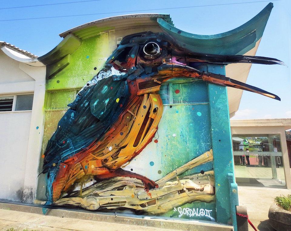 18 Street Art by Bordalo II in Estarreja, Portugal at MISTAKER MAKER