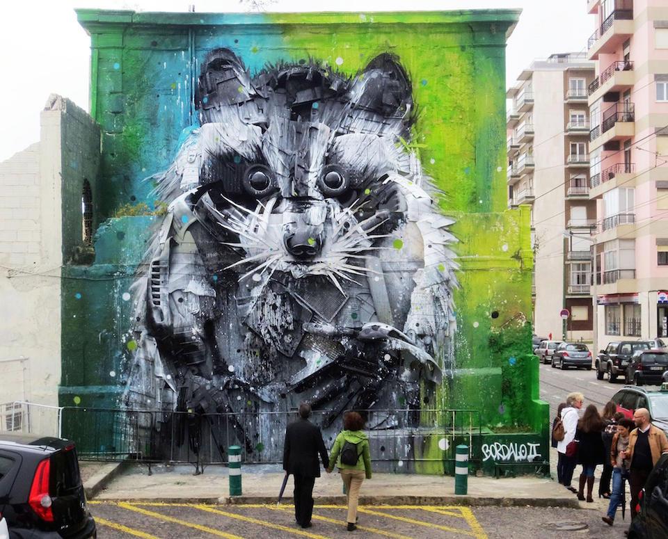 19 Street Art by Bordalo II in Lisbon, Portugal