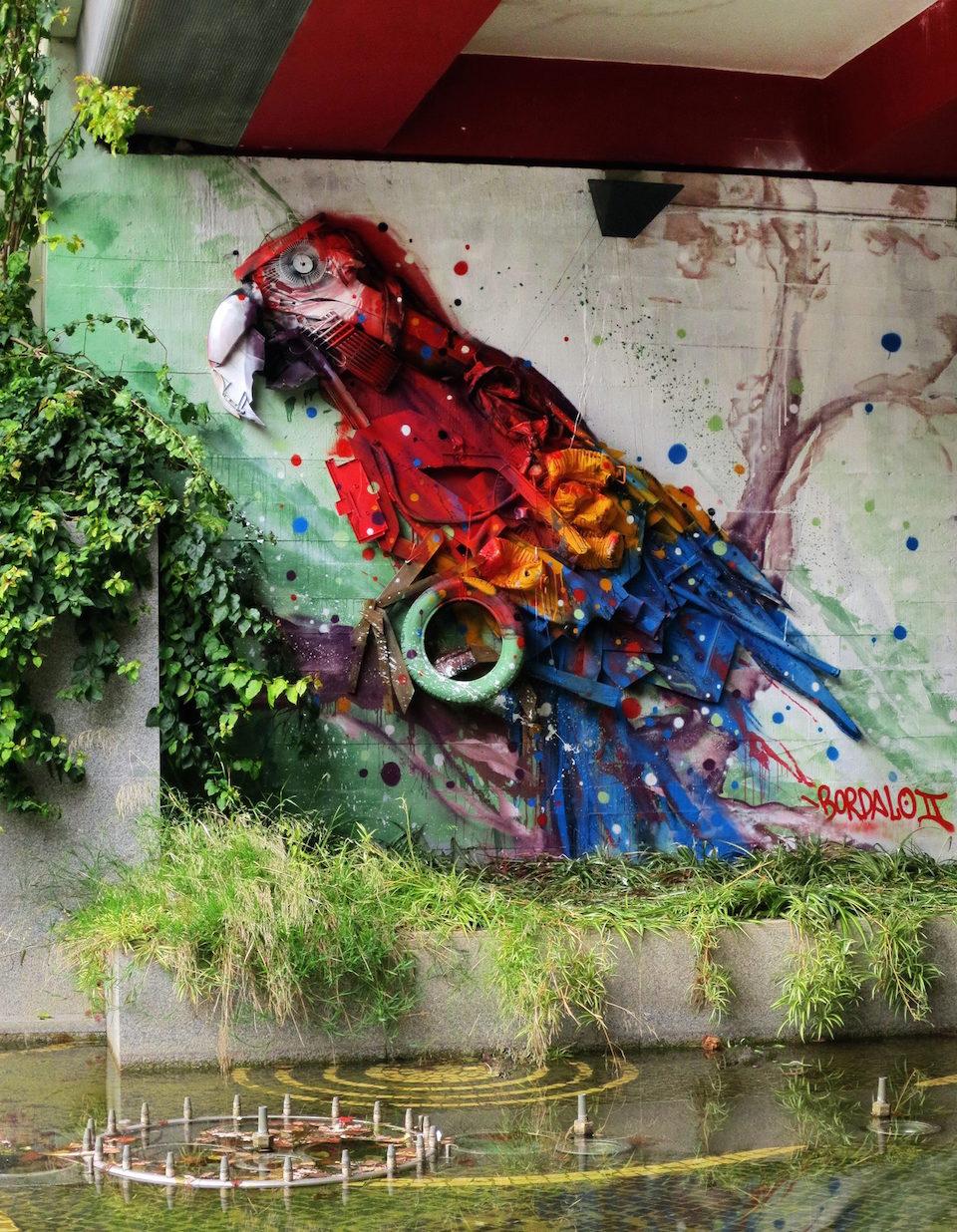 2 Street Art by Bordalo II in Lisbon, Portugal