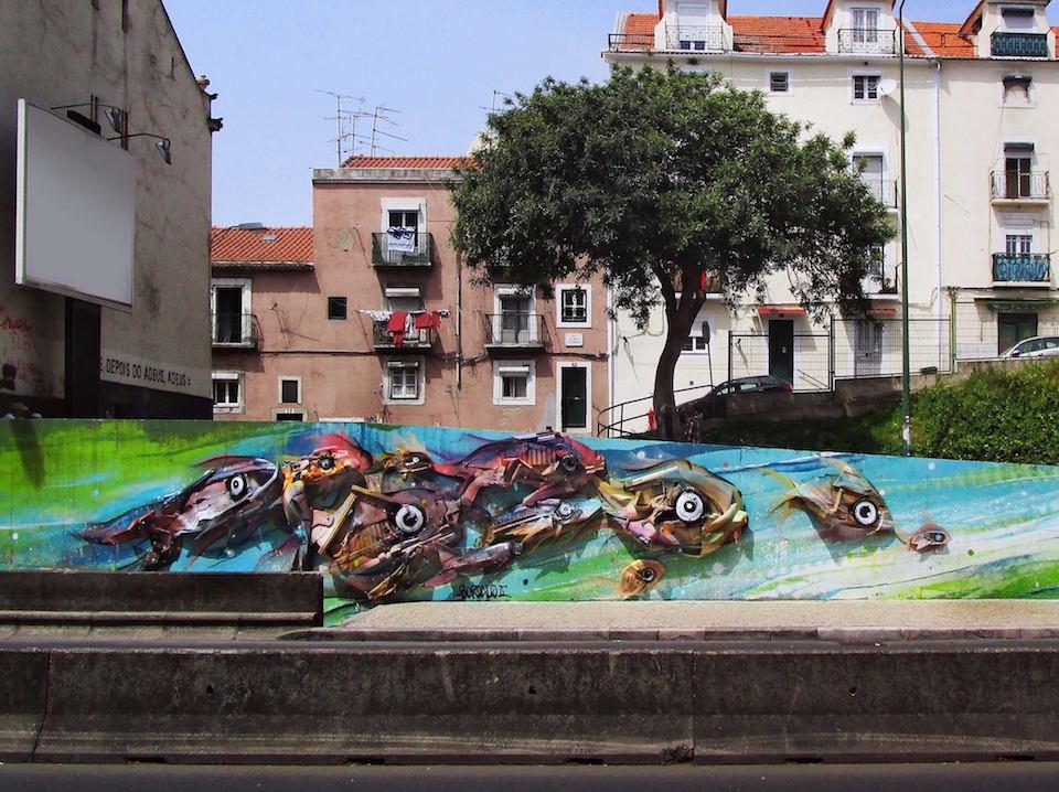 20 Street Art by Bordalo II in Lisbon, Portugal