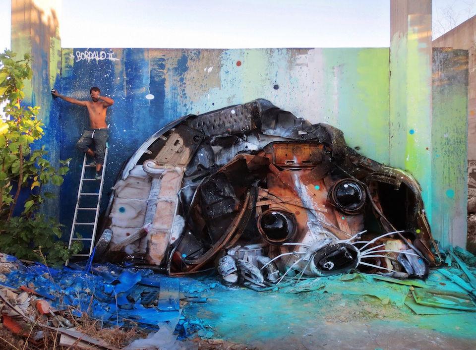 24 Street Art by Bordalo II in Lisbon, Portugal
