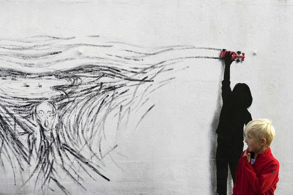 Drift - Street Art by Pejac at Nuart in Stavanger, Norway. A tribute to norwegian Edvard Munch 1
