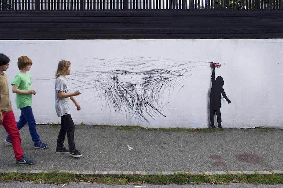 Drift - Street Art by Pejac at Nuart in Stavanger, Norway. A tribute to norwegian Edvard Munch 2