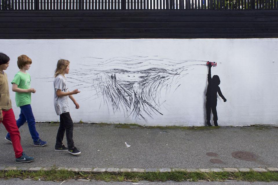 Drift - Street Art by Pejac at Nuart in Stavanger, Norway. A tribute to norwegian Edvard Munch 2