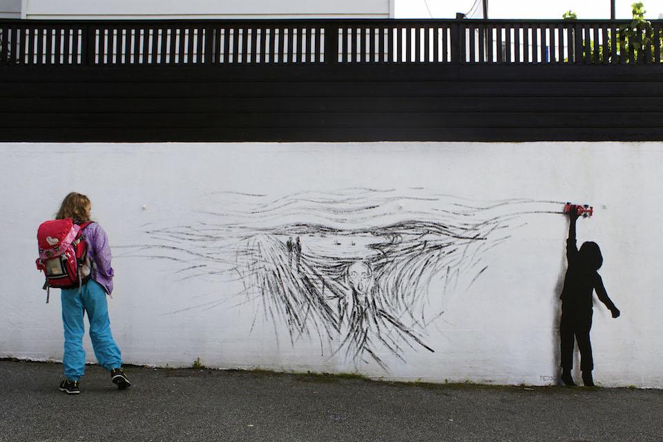 Drift - Street Art by Pejac at Nuart in Stavanger, Norway. A tribute to norwegian Edvard Munch 3